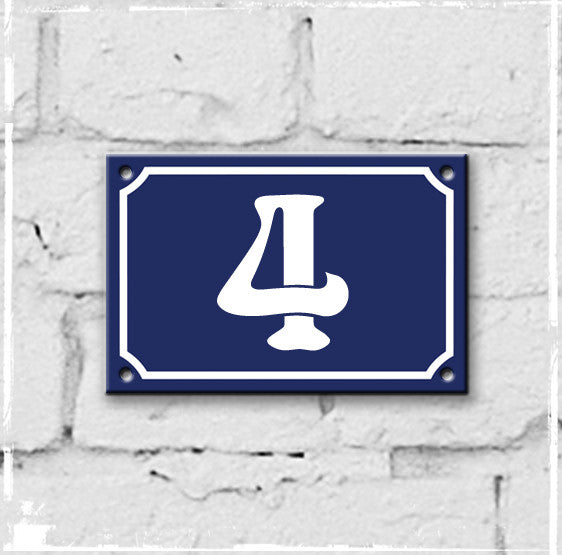 Blue - french enamel house number - 4, Art Nouveau typeface