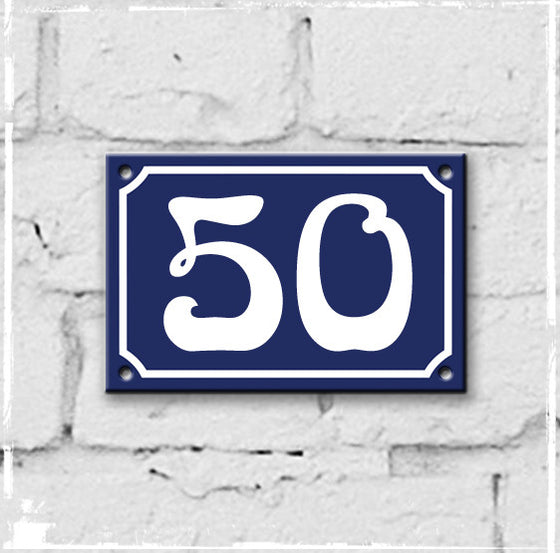 Blue - french enamel house number - 50, Art Nouveau typeface