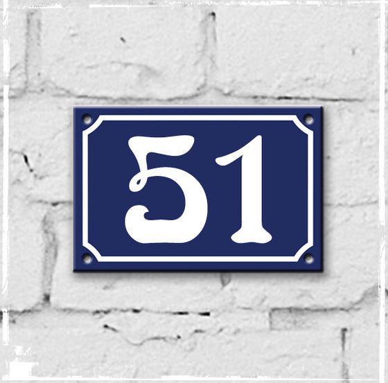 Blue - french enamel house number - 51, Art Nouveau typeface