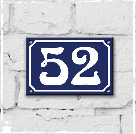 Blue - french enamel house number - 52, Art Nouveau typeface