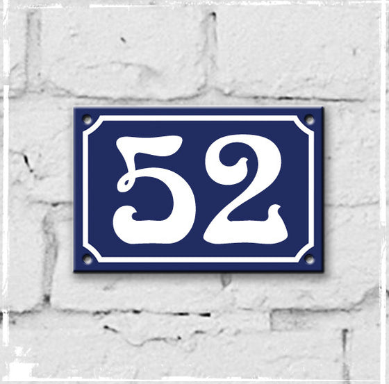 Blue - french enamel house number - 52