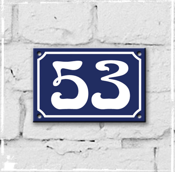 Blue - french enamel house number - 53