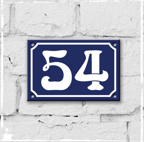 Blue - french enamel house number - 54, Art Nouveau typeface