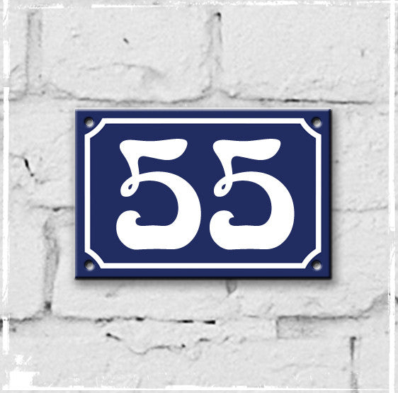 Blue - french enamel house number - 55, Art Nouveau typeface