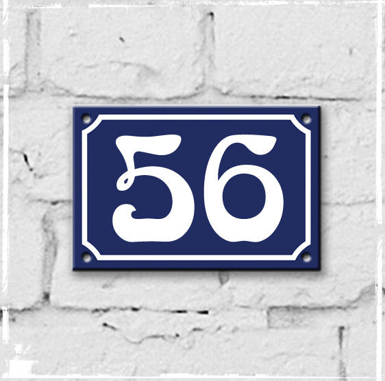 Blue - french enamel house number - 56