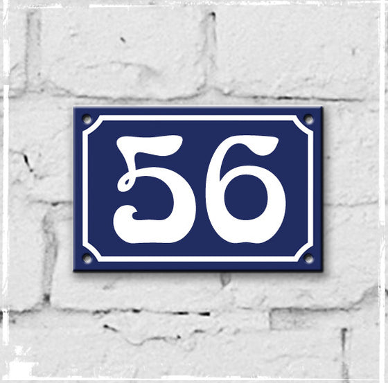 Blue - french enamel house number - 56, Art Nouveau typeface