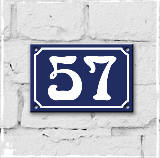 Blue - french enamel house number - 57, Art Nouveau typeface