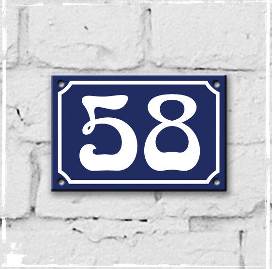 Blue - french enamel house number - 58, Art Nouveau typeface