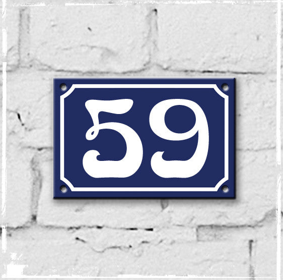 Blue - french enamel house number - 59, Art Nouveau typeface