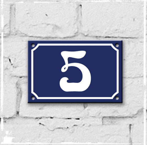 Blue - french enamel house number - 5, Art Nouveau typeface
