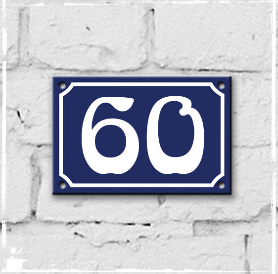 Blue - french enamel house number - 60, Art Nouveau typeface