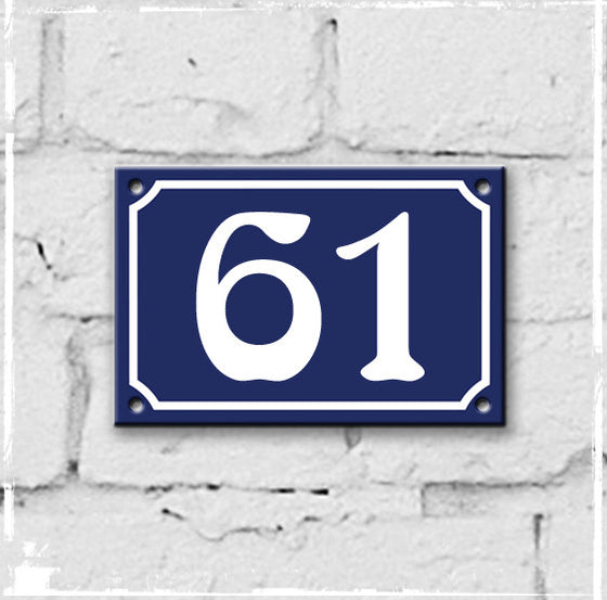 Blue - french enamel house number - 61, Art Nouveau typeface