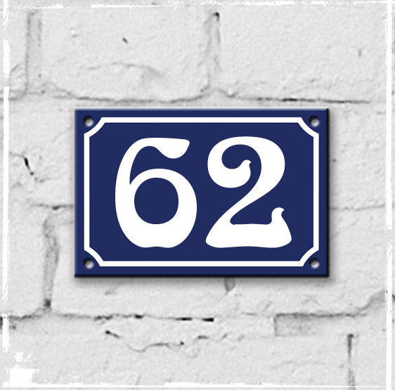 Blue - french enamel house number - 62