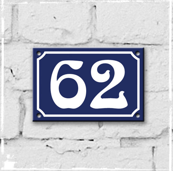 Blue - french enamel house number - 62, Art Nouveau typeface