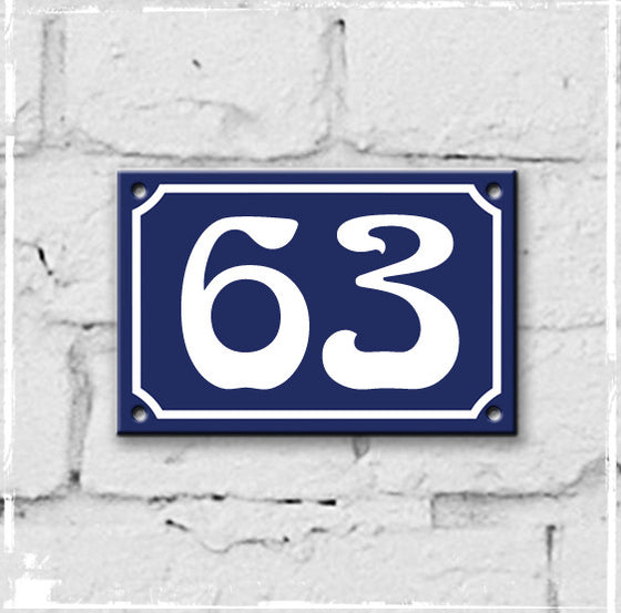 Blue - french enamel house number - 63