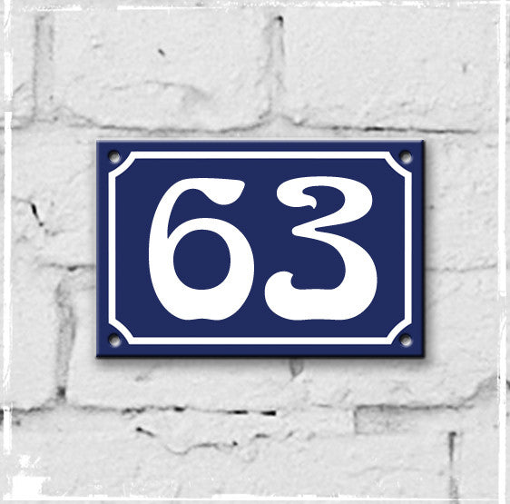 Blue - french enamel house number - 63, Art Nouveau typeface
