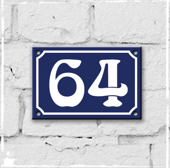 Blue - french enamel house number - 64, Art Nouveau typeface