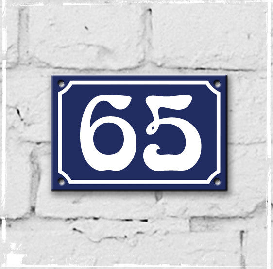 Blue - french enamel house number - 65, Art Nouveau typeface