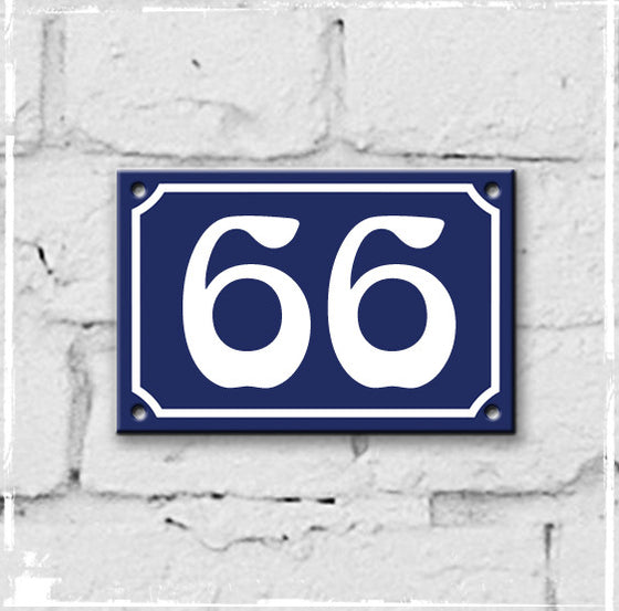Blue - french enamel house number - 66, Art Nouveau typeface