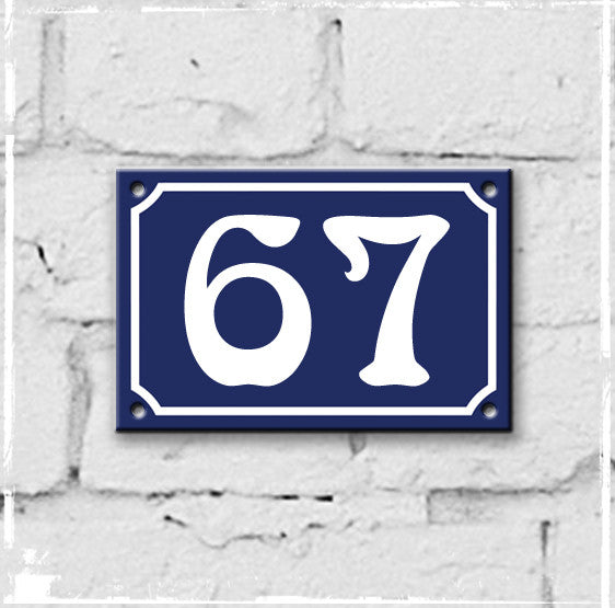Blue - french enamel house number - 67, Art Nouveau typeface