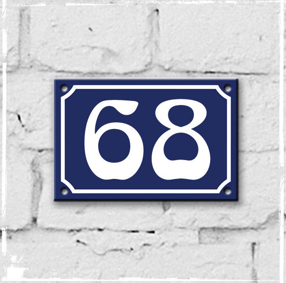 Blue - french enamel house number - 68, Art Nouveau typeface