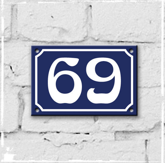 Blue - french enamel house number - 69, Art Nouveau typeface