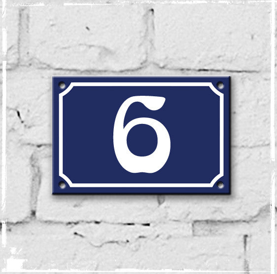 Blue - french enamel house number - 6, Art Nouveau typeface