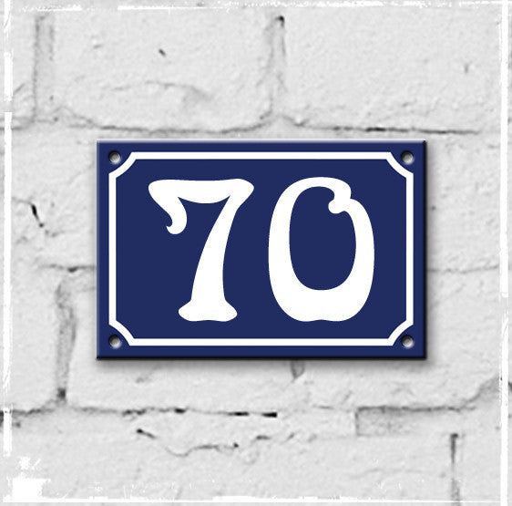 Blue - french enamel house number - 70, Art Nouveau typeface