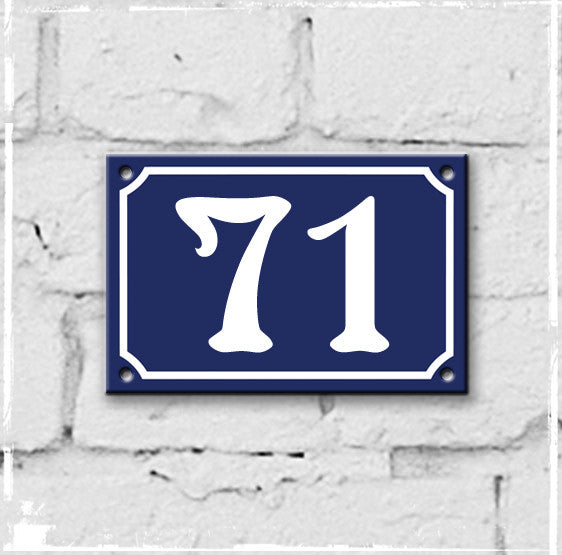 Blue - french enamel house number - 71, Art Nouveau typeface