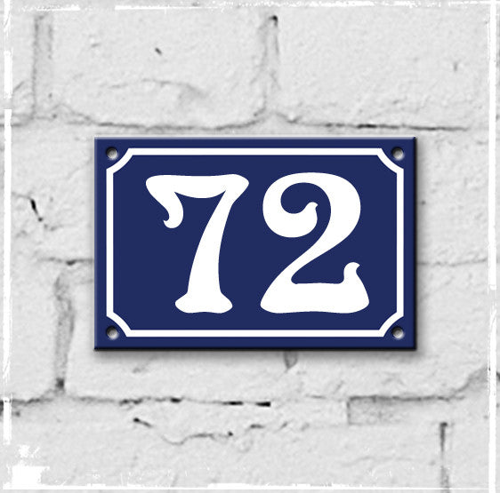 Blue - french enamel house number - 72