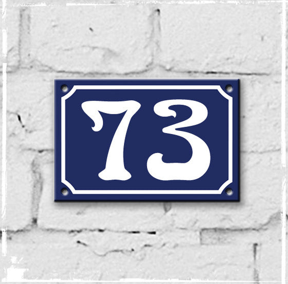 Blue - french enamel house number - 73, Art Nouveau typeface