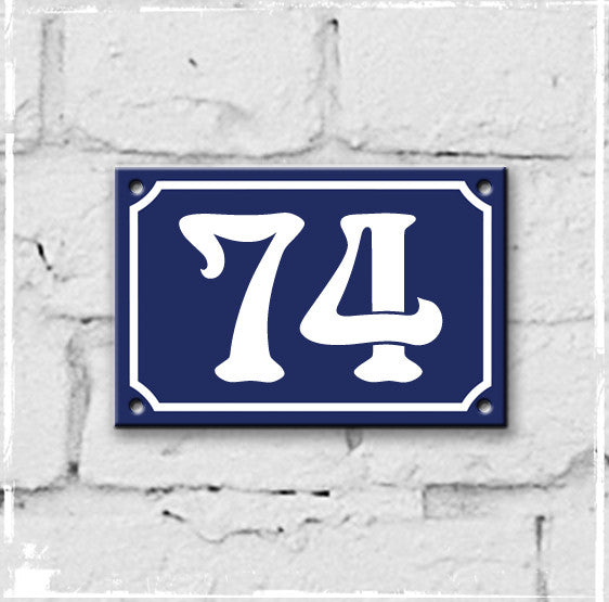 Blue - french enamel house number - 74, Art Nouveau typeface