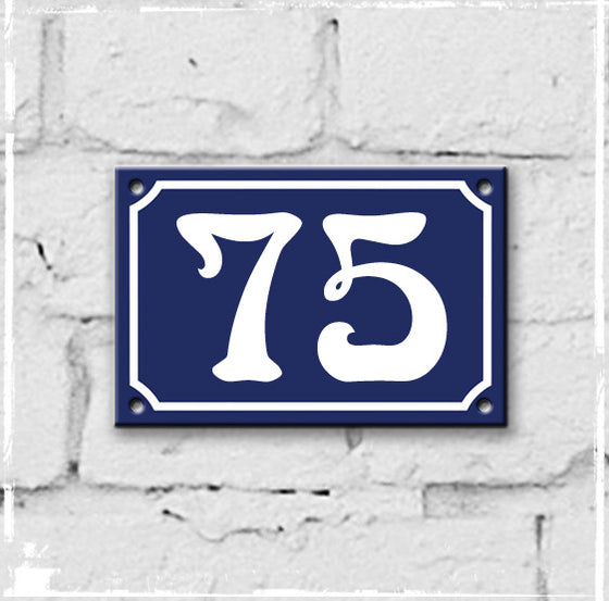 Blue - french enamel house number - 75