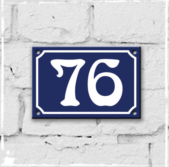 Blue - french enamel house number - 76