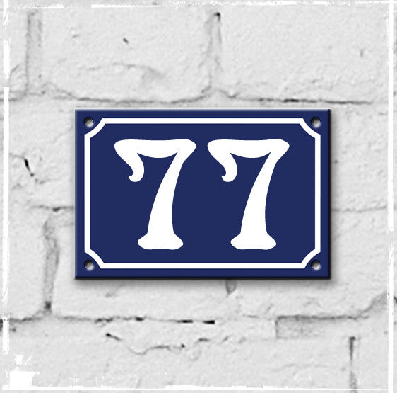 Blue - french enamel house number - 77