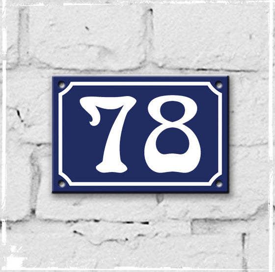 Blue - french enamel house number - 78, Art Nouveau typeface