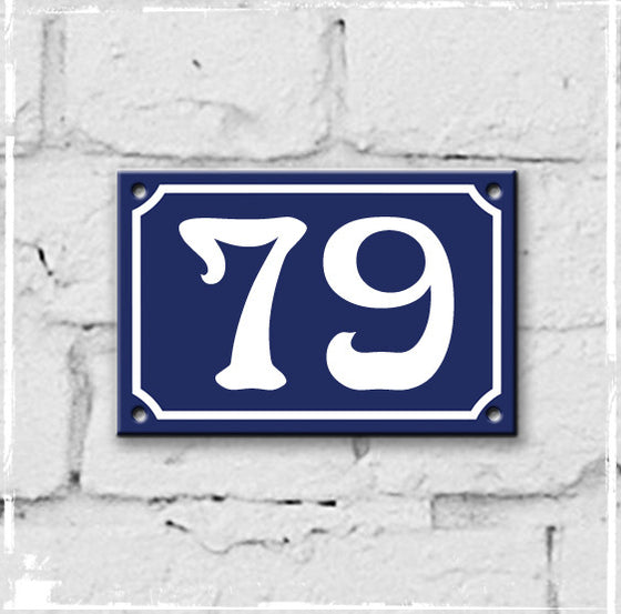 Blue - french enamel house number - 79, Art Nouveau typeface