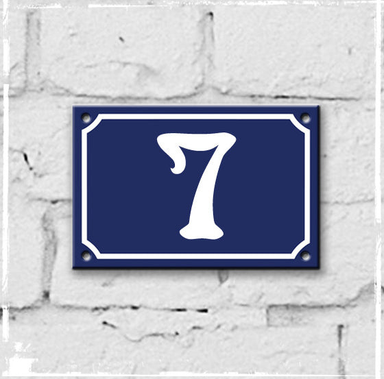 Blue - french enamel house number - 7, Art Nouveau typeface
