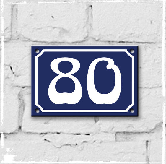 Blue - french enamel house number - 80, Art Nouveau typeface