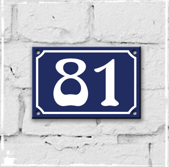 Blue - french enamel house number - 81