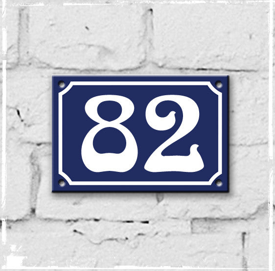 Blue - french enamel house number - 82, Art Nouveau typeface