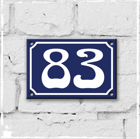 Blue - french enamel house number - 83, Art Nouveau typeface
