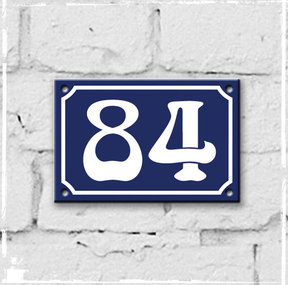 Blue - french enamel house number - 84, Art Nouveau typeface