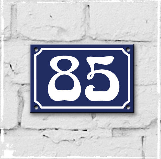 Blue - french enamel house number - 85, Art Nouveau typeface