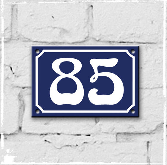 Blue - french enamel house number - 85