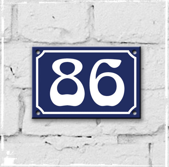 Blue - french enamel house number - 86