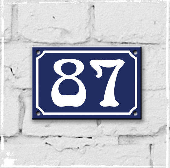 Blue - french enamel house number - 87