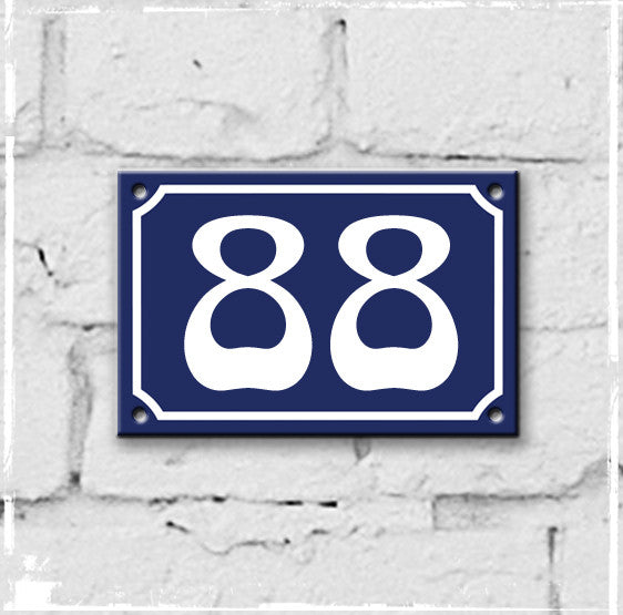 Blue - french enamel house number - 88, Art Nouveau typeface