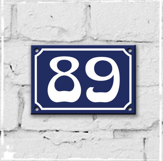 Blue - french enamel house number - 89, Art Nouveau typeface