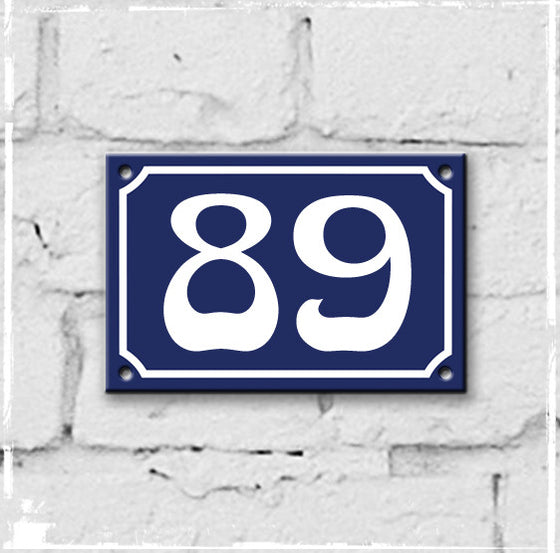 Blue - french enamel house number - 89